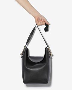 black medium fold over leather tote bag