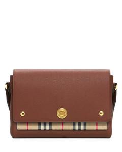 Ll Md Note Leather & Check Shoulder Bag