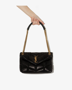 black Loulou Puffer small leather shoulder bag