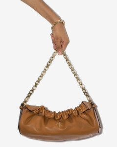 brown Cylinder ruched leather shoulder bag