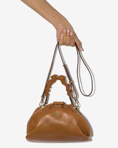 brown Demi ruched leather shoulder bag