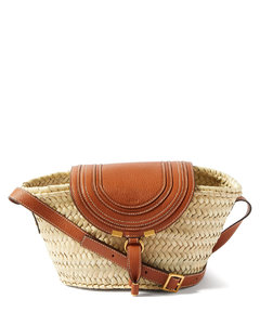 Marcie leather and straw basket bag
