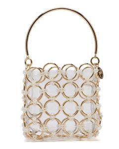 Joplin beaded metal-ring clutch bag