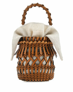 Brown leather small Fringes Bucket handbag