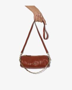 Womens Brown Mini Cylinder Calf Leather Shoulder Bag