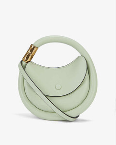 Disc leather and suede cross-body bag