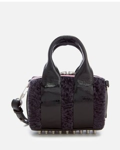 Women's Baby Rockie Patent and Shearling Tote Bag - Grey Multi