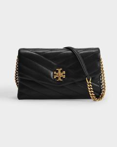 Kira Chevron Chain Wallet in Black Leather