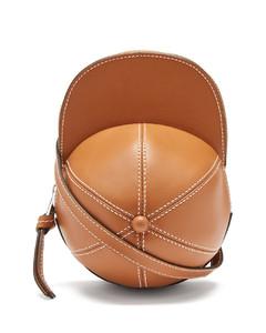 Cap leather cross-body bag