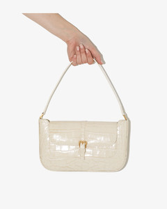 Cream Mock Croc Leather Shoulder Bag