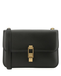 【秀莲同款】Black leather Carréshoulder bag