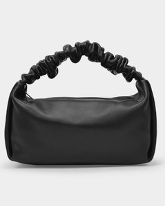 Baguette Bag Scrunchie Small in Black Leather