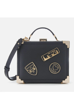 Women's Mini Trunk Bag with Patches - Black