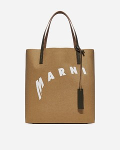 Logo fabric and leather tote bag