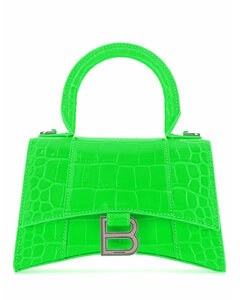Fluo green leather XS Hourglass handbag