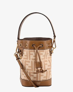 Wool and leather bucket bag