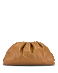 Leather Pouch Clutch in Neutral