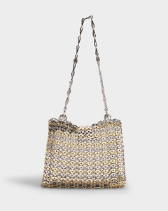 1969 Iconic Metallic Disc Bicolor Bag In Silver And Golden Brass