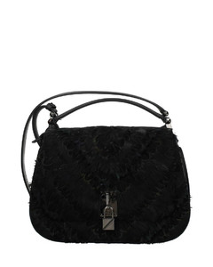 Crystal Embroidered Heart Clutch