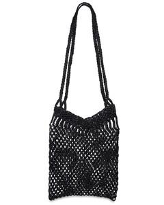 Knotted MacraméLeather Shoulder Bag