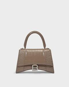 Hourglass Top Handle S Bag in Mink Grey Shiny Embossed Croc Calfskin