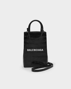 Shopping Phone Holder in Black Shiny Embossed Croc Calfskin
