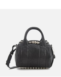 Women's Mini Rockie Pebbled Leather Bag with Rhodium Studs - Black