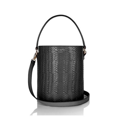 Santina Mini Bucket Bag Black Large Woven