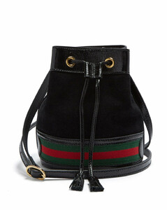 Ophidia mini Web-striped suede bucket bag