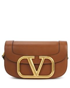 Garavani My VLogo brown leather saddle bag