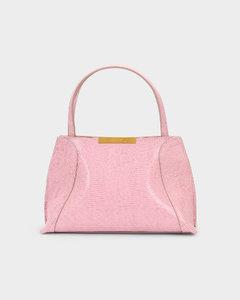 Charlotte Pink Lizard Embossed Leather Bag