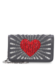 Handbag GINNY leather pearls black