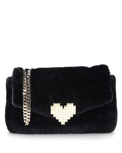 Handbag IVY Shearling wool metal black