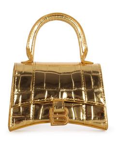 Hourglass Mini Top Handle Bag In Gold