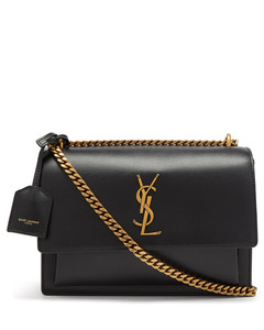 Sunset medium YSL-plaque leather shoulder bag