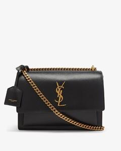Sunset medium YSL-plaque leather shoulder bag