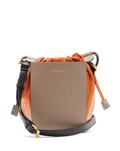 Gusset small leather shoulder bag
