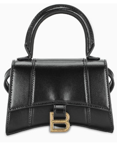 Black/gold mini Hourglass bag