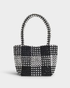 Mina Beaded Mini Tote In Black And Silver Synthetic Beads