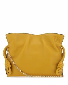 Ochre nappa leather mini Flamenco clutch Yellow Loewe Donna