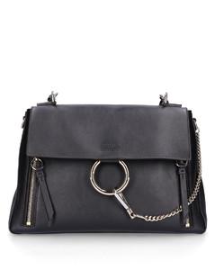Handbag FAYE M leather suede logo black