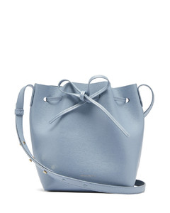 Mini saffiano-leather bucket bag