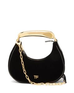 Bianca metal-handle velvet shoulder bag