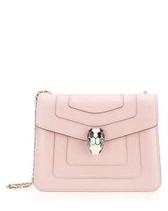 WOMEN'S 287017 PINK LEATHER SHOULDER BAG