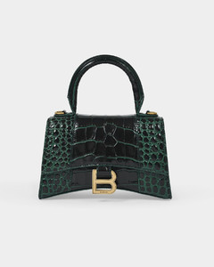 Handbag Hourglass XS Forest Green in Shiny Embossed Croc Leather