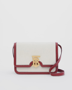 Small Two-tone Canvas and Leather TB Bag
