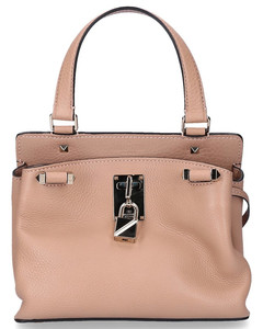 Handbag PIPER leather rivets gold logo beige