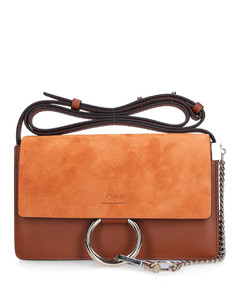 Handbag FAYE S Calfskin Suede Logo brown