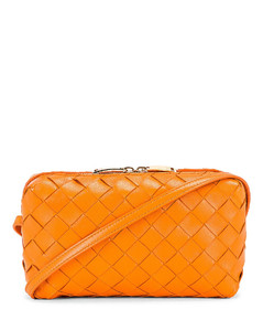 Leather Woven Crossbody Bag in Orange