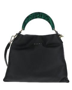 Black Leather Swan Bucket Bag